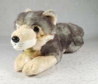 "Miyoni By Aurora Grey And Beige Timber Wolf Plush Stuffed Animal 12"" Toy"