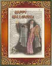 Halloween Bela Lugosi Dracula Altered Art Print Upcycled Vintage Dictionary Page