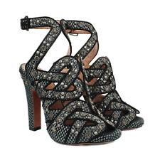 Alaia Black Grey Woven Suede Edged Embellished Heels Sandals IT36 UK3