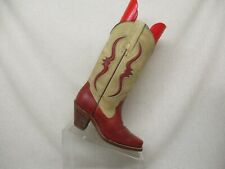 FRYE Beige Red Leather Lizard Skin Inlay Cowboy Western Boots Womens Size 5 B