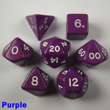 Opaque Poly 7 Dice RPG Set Purple Pathfinder 5e Dungeons Dragons D&D Roleplay HD