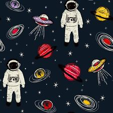 Spaceman Astronaut Ships Planets Navy  Wallpaper Arthouse 697900