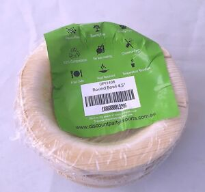"Areca Palm Leaf Plates - Round Bowl 4.5"" 20 Pack"