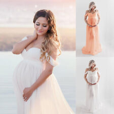 ❤️ Maternity Women Long Maxi Gown Pregnant Off Shoulder Dress Photography Props