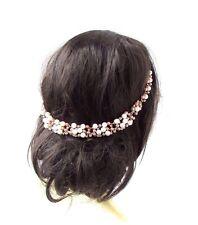 White Gold Nude Pink Pearl Diamante Headband Hair Vine Bridal Bridesmaid 2969