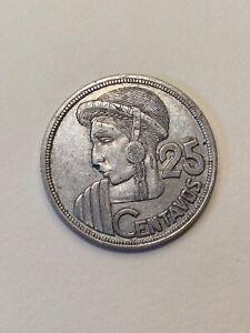 1956 Guatemala 25 centavos silver coin, circulated but fine