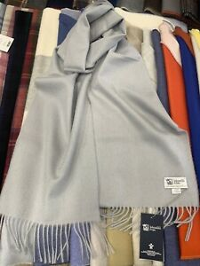 100% Cashmere Wide Scarf   Johnstons of Elgin   Light Grey   Made in Scotland
