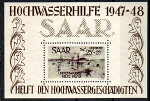 Germany 1948 Flooding fund SAAR Souvenir Sheet MNH # 022