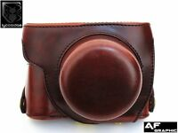 V318 Brown Leather Case Bag Cover + Strap for Panasonic LUMIX DMC LX100 Camera