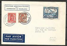 Belgium covers 1936 mixed franked Airmail Exposition cover Charleroi to Paris