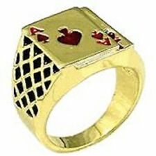 18K GOLD EP LUCKY ACE SPADES MENS CARD RING sz 9  R 1/2 red