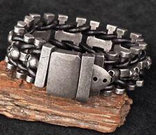"Vintage Gunmetal Stainless Steel Skulls Men's Bracelet Black Leather Braided 9"""