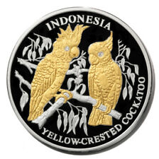 Liberia Yellow-Crested Cockatoos Indonesia $10 2005 Gilt Proof Silver Crown KM75