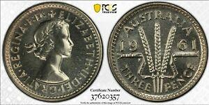Australia 1961 Melbourne Proof Threepence - PCGS Graded PR67 - Only 2 Finer