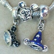 Disney Parks Mickey Black Crystal Ears Hat Blue Sorcerer European Beads Charms