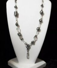 Cookie Lee Clear Crystal & Silvertone Bead Lavaliere Necklace