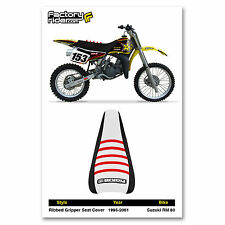 1995-2001 SUZUKI RM 80 Black/White/Red RIBBED SEAT COVER BY Enjoy MFG