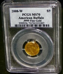 PCGS MS70 2008-W American Buffalo Gold Coin .9999 Fine $5