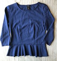 Ann Taylor Womens Top Size XS Fitted Blue Shirt 3/4 Sleeve