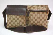 Gucci GG Canvas Monogram Waist Pouch Belt Bum Bag Fanny Pack Brown 1009a