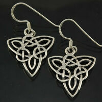 Celtic Trimity Knot Silver Earrings, Plain Solid Sterling Silver, ep131