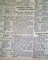 SEABISCUIT vs. Ligaroti Thoroughbred HORSE RACING Match Victory 1938 Newspaper