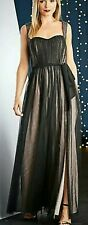 Little Mistress NWT UK size 12 black mesh embellished lined maxi evening dress
