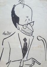 Cuban Art. Caricature by Juan David. Raul Roa, 1975. Ink on paper.