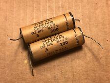 2 Vintage Astron .5 uf 200v Brown Molded Paper Guitar Amp Tone Capacitors