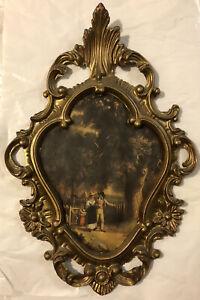 Vtg Mid Century Gold Ornate Floral Design Hollywood Regency Wall Picture Frame
