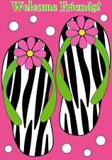 Zebra Flip Flops Summer Beach Welcome Friends Large Standard Flag Dt