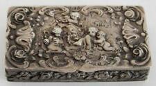 1800's SILVER .800 SNUFF BOX - REPOUSSE CHERUBS & VILLAGE SCENE - 3 HALLMARKS