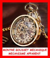 COLLECTION MONTRE GOUSSET RETRO MECANIQUE AUTOMATIQUE + CHAINE COULEUR OR HOMME