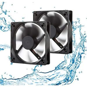 12V Waterproof Fan 120mm 2-Pack High Speed 12 Volt DC 2Wire 3Pin Exhaust Cooling