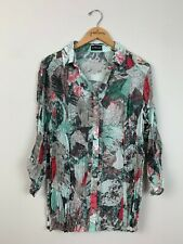 Samoon By Gerry Weber Teal Pink Button Down 3/4 Sleeve Shirt Top Size Large L XL