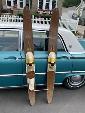 "Vintage Apollo 68"" wood wooden Nash water skis wall decor beach house display"