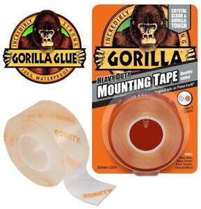 Gorilla Glue Heavy Duty Mounting Tape Double Sided Weatherproof Clear Mount NEW