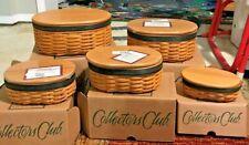 Free Ship-Longaberger Collector's Club-Complete set-5 Baskets, Protectors & Lids