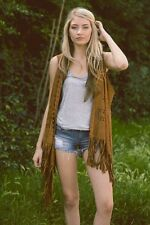 Bohemian Hippie Vegan Faux Suede Cowgirl Hippie Vest Jacket Cardigan Brown OS