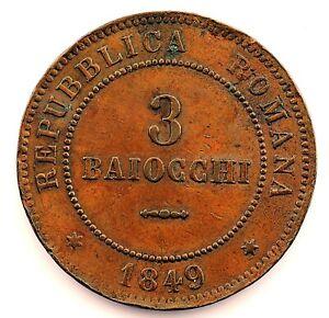 Italia-Roma Republica. 3 Baiocchi 1849 R. 3 Redondo. EBC-/XF-. Cobre 25,3 g.