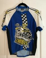 New Louis Garneau Zombie Triathletes Short Blue Sleeve Jersey Cycling Top Xl #3
