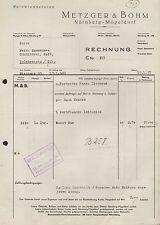 NÜRNBERG-MÖGELDORF, Rechnung 1937, Wein-Brennereien Metzger & Böhm