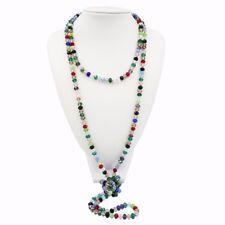 Wholesale New Fashion Mutil Color 5x8mm Crystal Glass Long necklace 68''/170cm