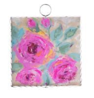Round Top Collection NWT - Mini Bouquet Of Pink Print - Metal & Wood