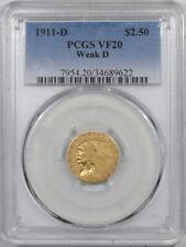 1911-D $2.50 INDIAN HEAD GOLD - WEAK D, PCGS VF-20
