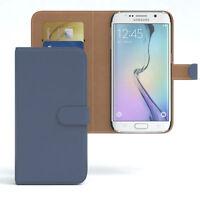 Tasche für Samsung Galaxy S6 Edge Case Wallet Schutz Hülle Cover Dunkelblau