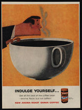 1960 SANKA Coffee - Man Smelling Aroma - Giant Coffee Cup Art - VINTAGE AD