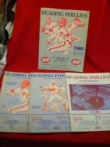 READING PHILLIES - GROUP OF 4 SOUVENIR PROGRAMS - 1980 - 1981 - 1982 - 1983