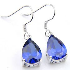 Newest Fine Jewelry Platinum Plated Gorgeous Blue Sapphire Gems Dangle Earrings
