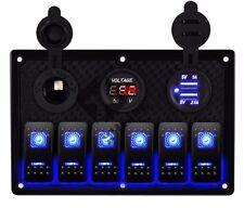 6 Gang USB Car Marine Boat Circuit RV LED Rocker Switch Panel Breaker Voltmeter